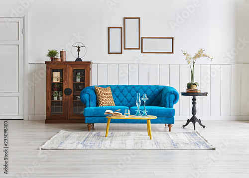 Classic Living Room Blue Sofa And Black Near Desk With