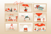 Hand Drawn Vector Abstract Fun Merry Christmas Time Cartoon Illustrations Greeting Cards Template And Backgrounds Big Collection Set With Gift Boxes,people And Xmas Art Isolated On White Background