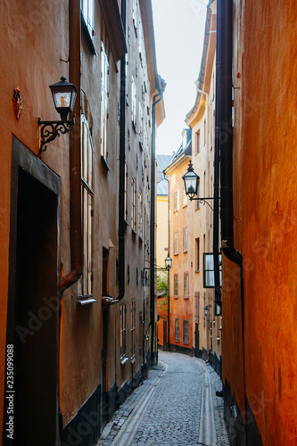 A narrow street in Gamla Stan, Stockholm