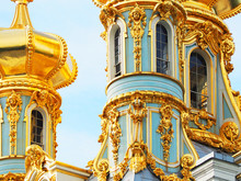 Fragment Close-up Of Golden Domes Of The Church In The Catherine Palace In The Town Of Pushkin. Tsarskoye Selo, Saint Petersburg, Russia