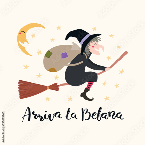 Hand written Italian lettering quote Arriva la befana, Befana arrives, with flying witch Canvas