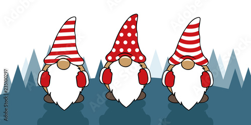 Christmas Gnomes Clipart.Three Cute Christmas Gnomes With Funny Caps Cartoon Vector