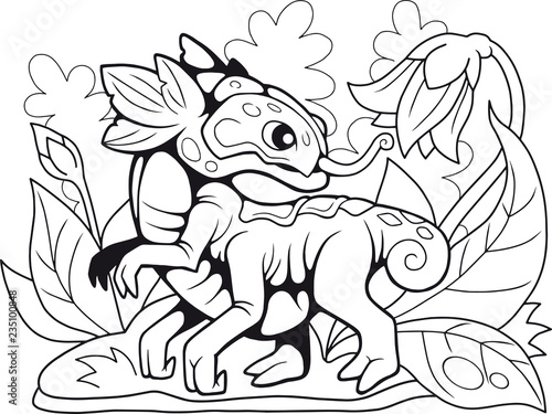 cartoon cute flower dragon, coloring book, funny illustration ...