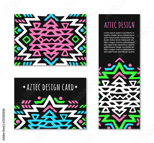Fotografie, Obraz  Aztec style colorful card set