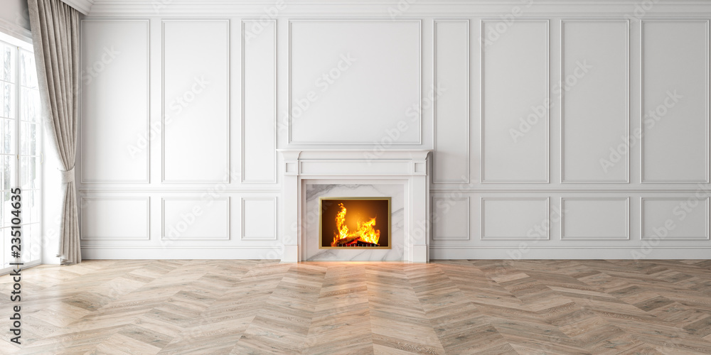 Fototapety, obrazy: Classic empty white interior with fireplace, curtain, window, wall panels, 3D render, illustration, mockup, wide picture.