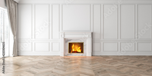 Foto Classic empty white interior with fireplace, curtain, window, wall panels, 3D render, illustration, mockup, wide picture