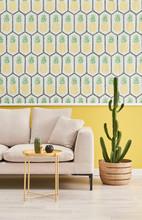 Pineapple Wall, Grey Sofa And Yellow Coffee Table Interior Room.