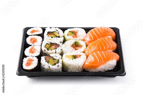 Fototapeta sushi assortment on black tray isolated on white background obraz