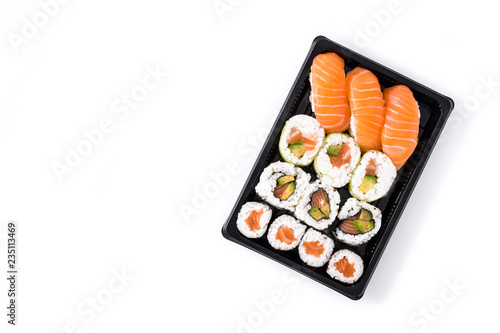 sushi assortment on black tray isolated on white background. Top view. Copyspace