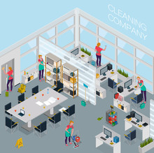 Cleaning Service Office Isometric Illustration