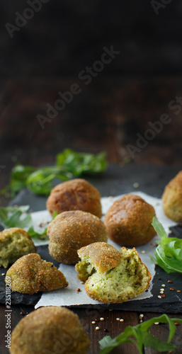 Fried vegetarian  falafel  with broccoli