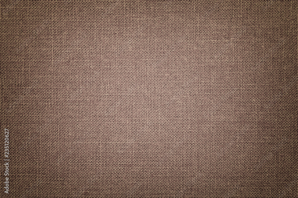 Fototapety, obrazy: Brown background from a textile material with wicker pattern, closeup.