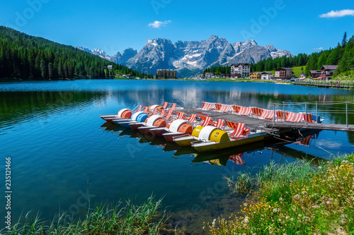 Landscape of Misurina  Lake in the sunny day, Cortina D'Ampezzo, South Tyrol, Dolomites, Italy Wallpaper Mural