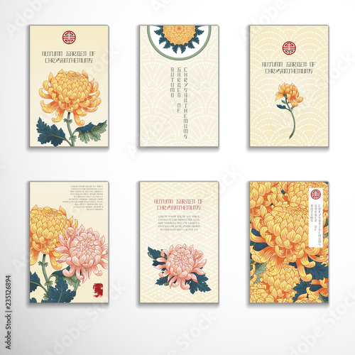 Foto Set of six vertical business cards with chrysanthemum flowers in Japanese style