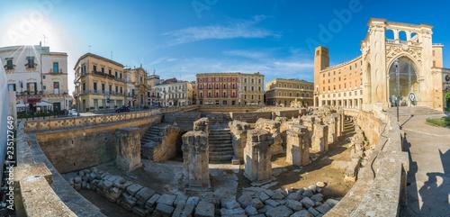 Tela Ancient Roman Amphitheatre in Lecce, Puglia region, southern Italy