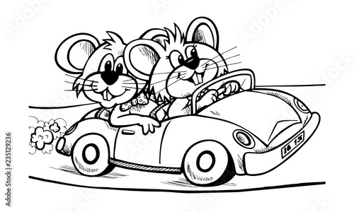 Staande foto Cartoon cars Myszki w aucie