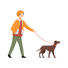 Young Man Walking With Dog In ...