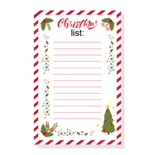 Christmas Wish List With Holly Berry Leaves And Holiday Tree Vector Template Isolated On White Background.
