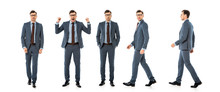 Collage Of Handsome Businessman In Suit Walking And Standing With Different Emotions Isolated On White