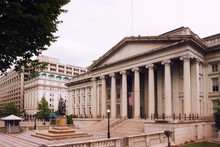 Washington, Neoclassical Style Building Of Treasury Department. USA