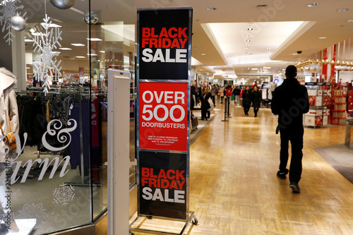 A Black Friday advertisement stands during the shopping event at