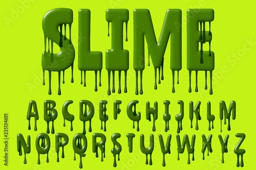 Green colored design font with 3D rendering and dripping letters isolated on light green background,