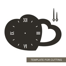 Clock In The Shape Of Of Two Hearts.  Dial With Arrows On White Background. Decor For Home. Romantic Gift For February 14. Template For Laser Cutting, Wood Carving, Paper Cut And Printing. Vector.