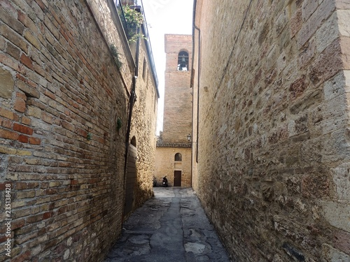 Typical Medieval alley of Montefalco, a town in Umbria that is famous for the red wine