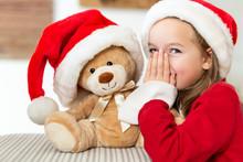 Cute Young Girl Wearing Santa ...