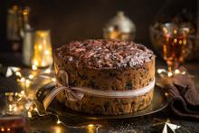Traditional Christmas Fruit Cake On Dark Background