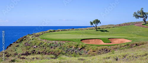 Golf course by the ocean © gdvcom