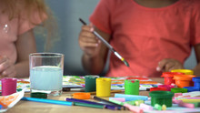 Multi-ethnic Girls Painting With Gouache At Workshop, Art Club, Creativity