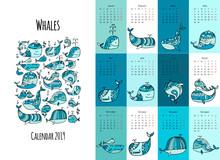 Whales, Calendar 2019 Design