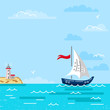 Summer sea landscape with yacht and lighthouse on the island. Flat and line style vector illustration. Travel concept. Hello summer card.