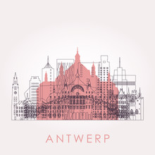 Outline Antwerp Skyline With L...