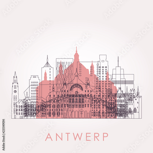 Cadres-photo bureau Antwerp Outline Antwerp skyline with landmarks. Vector illustration. Business travel and tourism concept with historic buildings. Image for presentation, banner, placard and web site.