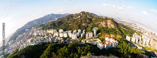 Fish-eye view of Seoul from the Ansan Mountain, South Korea