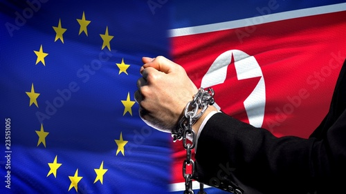 Photo European Union sanctions North Korea chained arms political or economic conflict