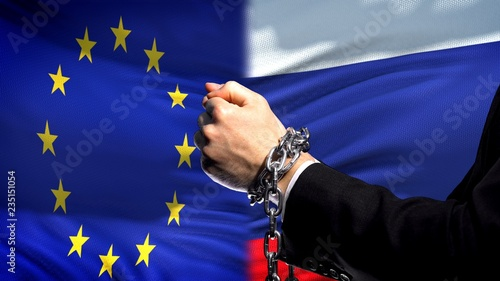 European Union sanctions Russia, chained arms, political or economic conflict Canvas Print