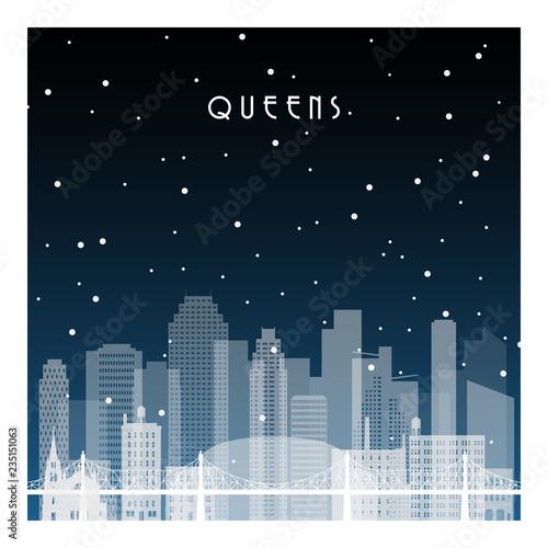 Fotomural Winter night in Queens NYC