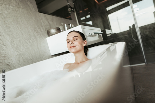 70b7bbb37eb Concept of water enjoyment and relaxation at home. Close up portrait ...