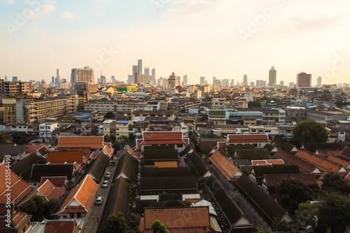 golden mountain Bangkok Thailand January 2018 cityscape show how life in Bangkok Canvas Print