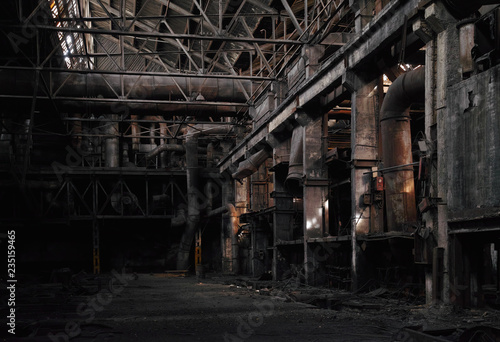 Photo Stands Old abandoned buildings Dilapidated conditions of the old abandoned factory.