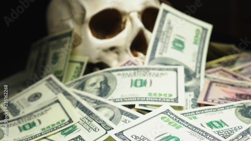 human skull in a pile of American currency Fototapet
