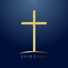 Gold Cross On Hill Logotype. Emblem Of Christian Event & Education. Greeting Card With Glitter And Sparkles On Dark Blue Background. Isolated Tradition Symbol, Graphic Design Template.