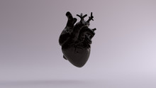 Black Anatomical Heart 3d Illustration 3d Render