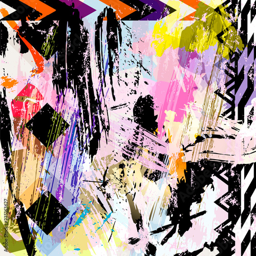 abstract background artwork, with strokes, splashes and geometric lines