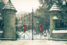 Old Vintage Cemetery Gates Arc...