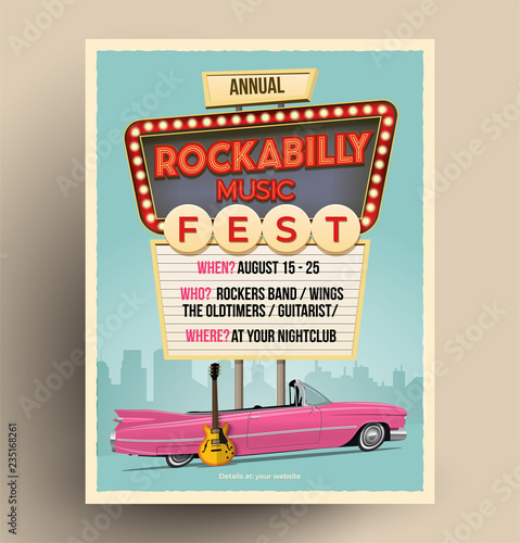 Photo Rockabilly music festival or party or concert promo poster