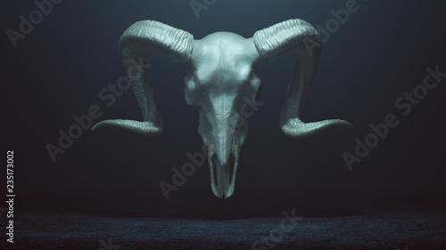 Photo Floating Evil Silver Ram Skull Spirit in a foggy void 3d Illustration